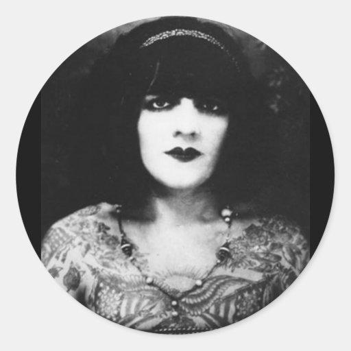 Chica tatuado del gótico del vintage pegatina redonda