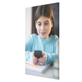 Chica texting en sala de clase lona estirada galerias