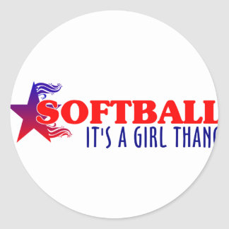 Chica Thang del softball… Pegatina Redonda