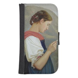 Chica tirolés que comtempla un crucifijo, 1865 billetera para galaxy s4