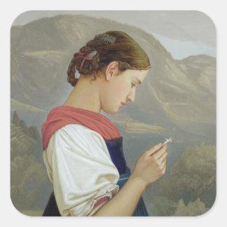Chica tirolés que comtempla un crucifijo, 1865 pegatina cuadrada