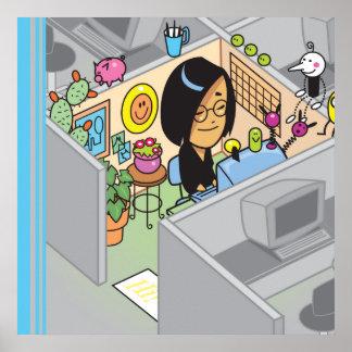 Chica trabajadora feliz del cubículo póster