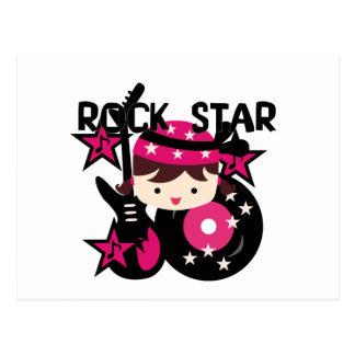 Chica trigueno de la estrella del rock tarjetas postales
