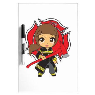 Chica trigueno del bombero de Kawaii - Pizarras Blancas De Calidad