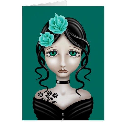 Chica triste con los rosas del azul del trullo tarjeta de felicitación