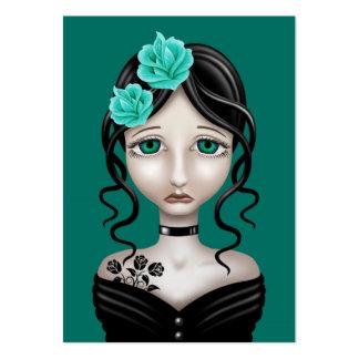 Chica triste con los rosas del azul del trullo tarjetas de visita grandes