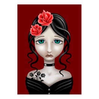 Chica triste con los rosas rojos tarjetas de visita grandes