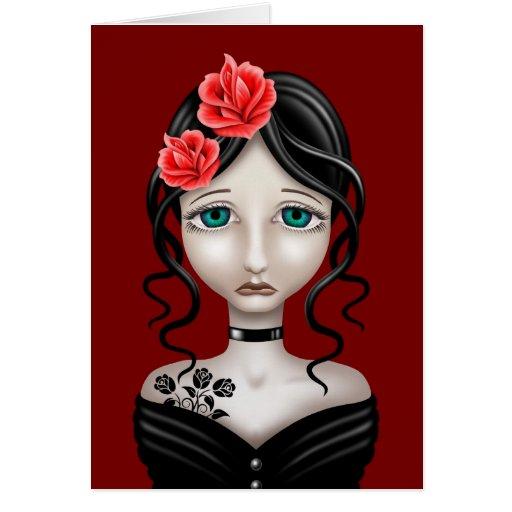 Chica triste con los rosas rojos tarjetón