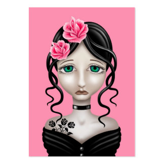 Chica triste con los rosas rosados tarjetas de visita grandes