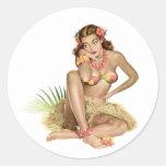 Chica tropical de la isla del paraíso pegatina redonda