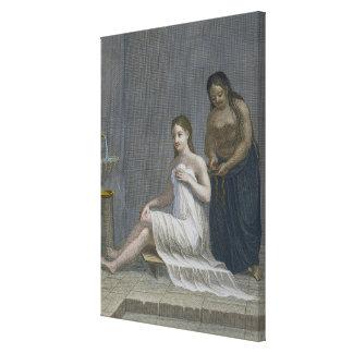 Chica turco, haciendo su pelo trenzar en los baños impresión en lienzo