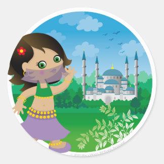 Chica turco pegatina redonda