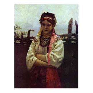 Chica ucraniano de Ilya Repin- por una cerca Postal