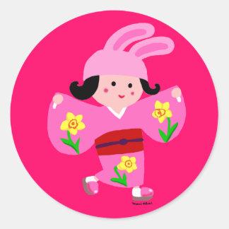 Chica Usagi del kimono Pegatina Redonda