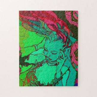 Chica verde de la pintada puzzle