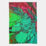 Chica verde de la pintada toalla