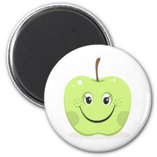Chica verde del dibujo animado de la manzana imán redondo 5 cm