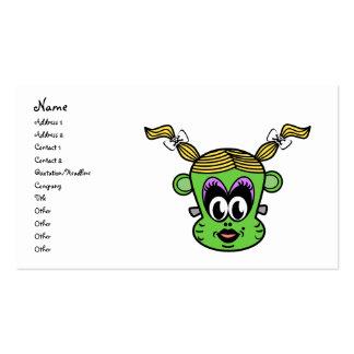 Chica verde del mono de Frankenstein Tarjetas De Visita