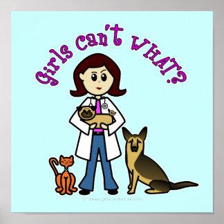 Chica veterinario ligero posters
