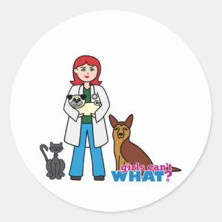 Chica veterinario - luz/rojo pegatina redonda