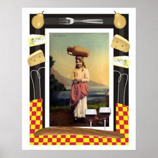 Chica, vino y queso tradicionales de Sicilia del v Poster