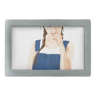 Chica vivaz hebillas de cinturón rectangulares