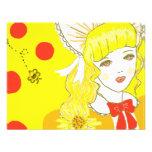 Chica y abeja de zumbido anuncios