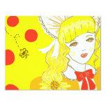 Chica y abeja de zumbido invitación 10,8 x 13,9 cm