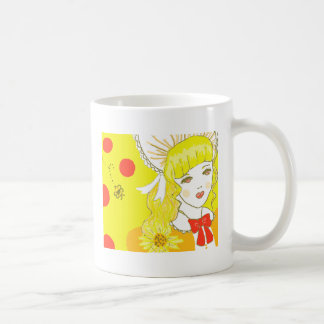 Chica y abeja de zumbido tazas de café