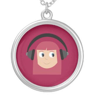 Chica y auriculares lindos del Redhead del dibujo  Colgante Redondo
