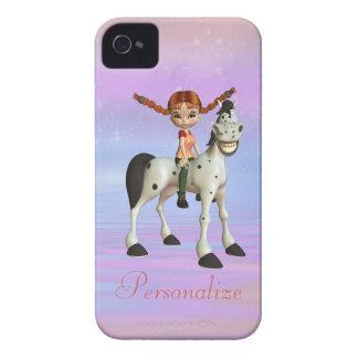 Chica y Blackberry personalizado caballo iPhone 4 Funda