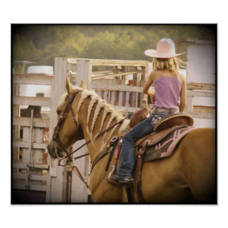 Chica y caballo de la raza del barril póster