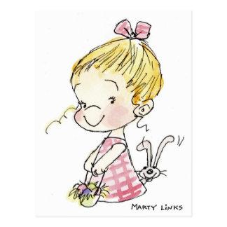 Chica y conejito de EAS-005 Pascua Postal