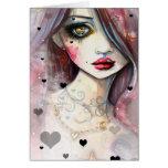 Chica y corazones del arte de la fantasía de la tarjeta de felicitación