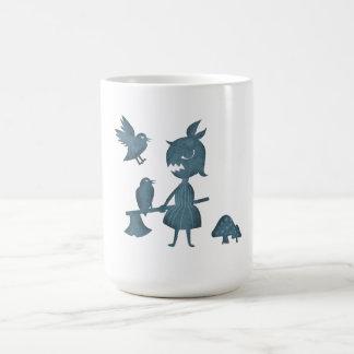 Chica y cuervos oscuros del hacha de los cuentos taza de café