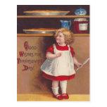 Chica y empanadas tarjetas postales