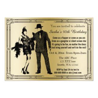 Chica y gángster de rugido de la aleta del art invitación 12,7 x 17,8 cm