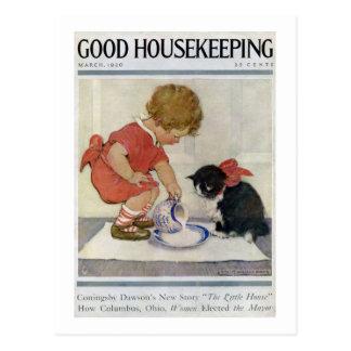 Chica y gatito, Jessie Willcox Smith Tarjeta Postal