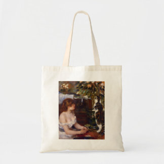 Chica y gato de Pedro-Auguste Renoir- Bolsas Lienzo