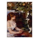 Chica y gato de Pedro-Auguste Renoir- Tarjeta
