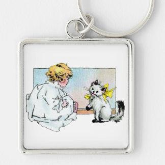 Chica y gato del vintage llavero cuadrado plateado