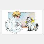 Chica y gato del vintage rectangular pegatinas