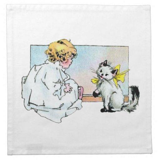 Chica y gato del vintage servilleta imprimida