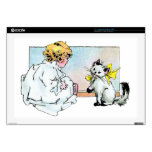 Chica y gato del vintage calcomanías para portátiles