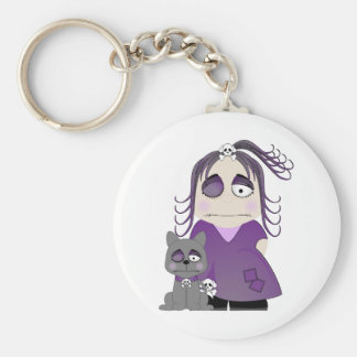 Chica y gato góticos remendados en púrpura llaveros personalizados