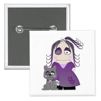 Chica y gato góticos remendados en púrpura pin