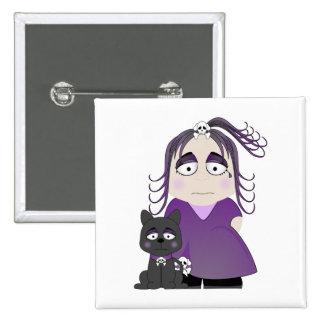 Chica y gato góticos tristes en púrpura pin