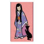 Chica y gato japoneses tarjeta de visita
