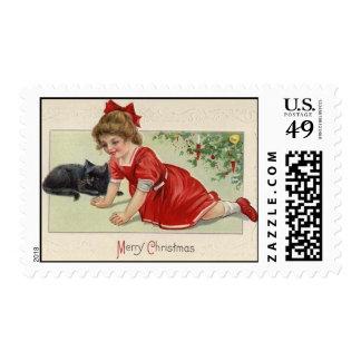 Chica y gato negro MED del navidad del Victorian