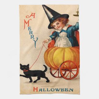 Chica y gato negro toalla